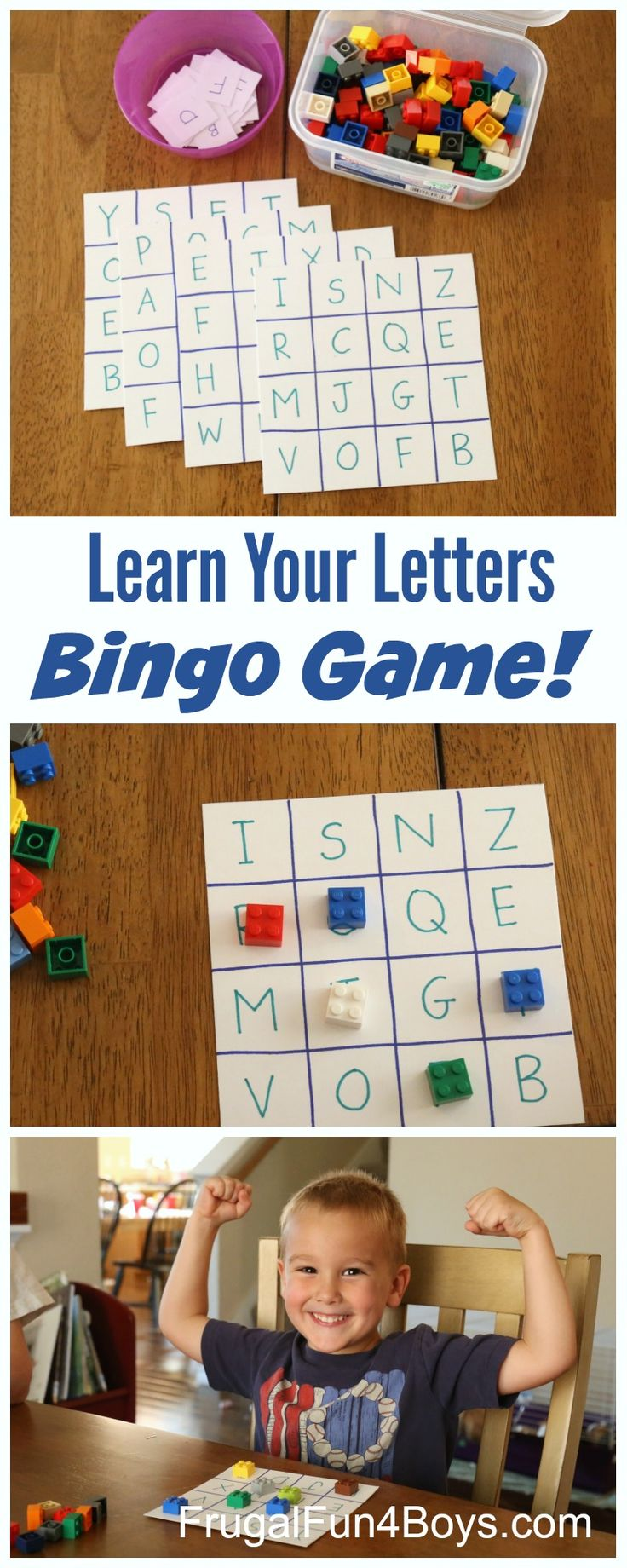 Here's another fun alphabet activity for kids – alphabet bingo! This game is simple to make with materials you have on hand, and my preschooler loved it. I made