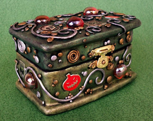 Halloween Wood Polymer Clay Trinket Box angled view by MandarinMoon, via Flickr