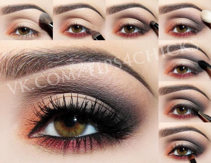 Orange plum grey makeup tuto