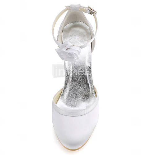 zapatos de las mujeres del dedo del pie redondo bombas de tacón de aguja de satén con hebilla de zapatos más colores disponibles 2016 – €39.19