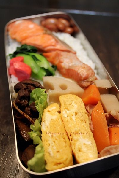 Sha-ke-ben, Typical Japanese Bento Lunch (Salmon on Rice, Tamagoyaki Egg Roll, Soy Simmered Root Veggies, Tsukemono Pickles)|シャケ弁