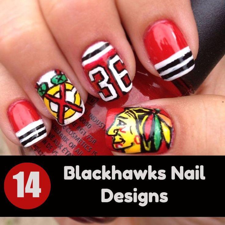 21 best Blackhawk nails images on Pinterest | Chicago blackhawks ...