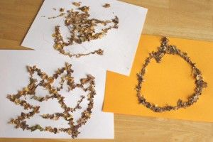 Crafting pictures with crunched up fallen leaves