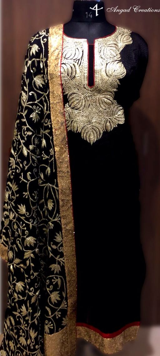Black Suit embroidered With Golden Zari. Perfect for any occasion. #zari #work…