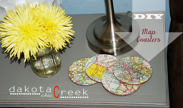 DIY Map Coasters at Dakota Creek Chic