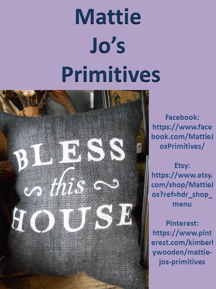 Bless This House black burlap pillow, country, country primitive, primitive, primitive country, farm house, rustic