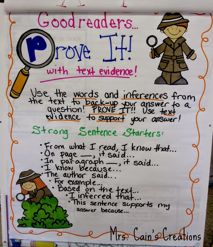 PROVE IT! Citing Text Evidence Like a Text Detective anchor chart!