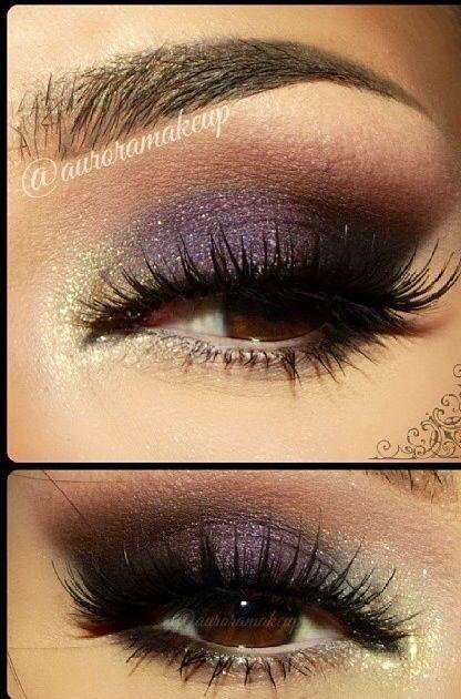 Beautiful eyeshadow purple and gold
