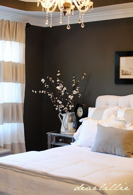 white molding for the bedroom.Wall Colors, Guest Room, White Beds, Dark Walls, Master Bedrooms, Stripes Curtains, Striped Curtains, Gray Wall, Bedrooms Ideas