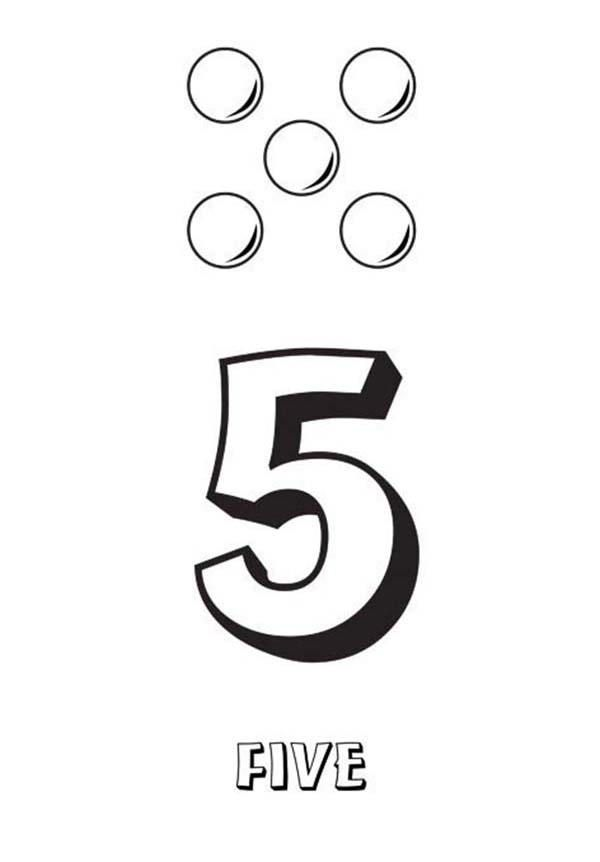 Learn Number 5 With Five Balls Coloring Page Coloring Pages Summer Coloring Pages Emoji Coloring Pages