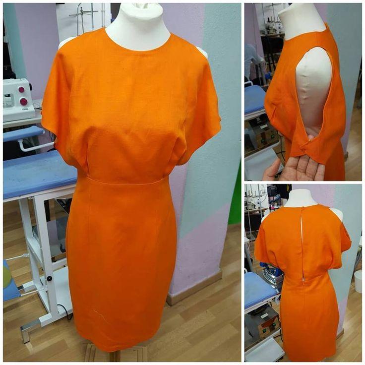 Vestido laranja   Feito pela nossa aluna   Escola Traços e Pontos
