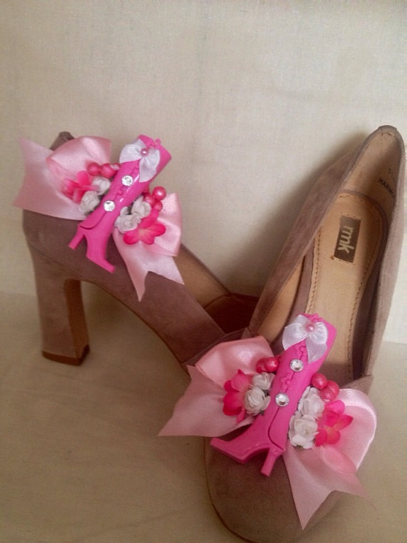 Barbie boot quirky pink shoe clips by DesignedbyDivas on Etsy, $34.95