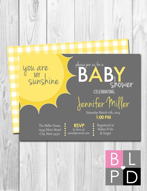 You Are My Sunshine Baby Shower Invitation   Corner Sun   Grey And Yellow    Gingham BACKSIDE INCLUDED   Printable