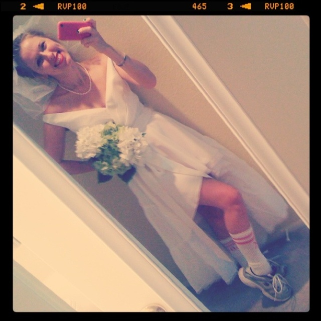 Homemade Halloween Costume: Runaway Bride. Get a white dress, favorite necklace, tennis shoes, fake flowers and a little bit of tulle and you're set!