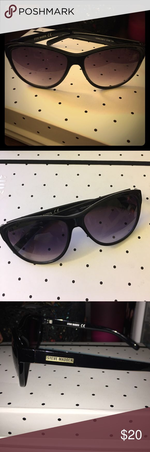 Steve Madden sunglasses Steve Madden sunglasses. Cateye style frame. Black frame with black gradient lenses. Slightly used with no scratches. Steve Madden logo on both arms of sunglasses. Comes with hard Steve Madden case. Steve Madden Accessories Sunglasses