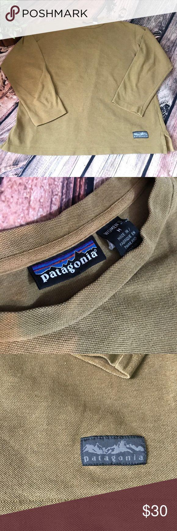 Women's long sleeve Patagonia shirt Long sleeve tan/brown Patagonia shirt.  80% cotton, 10% Raylon, 10% Polyester Patagonia Tops