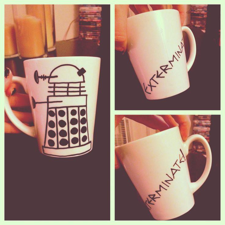 Dalek mug I made. Diy Doctor Who mug. Instagram.com/badwolf_____