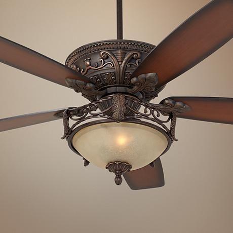 "60"" Casa Montego Scavo Glass Light Ceiling Fan - #56358-58978-U0088 | LampsPlus.com"