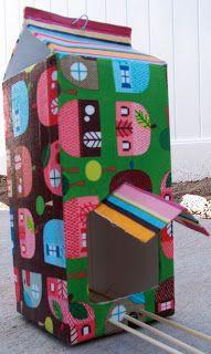 DIY bird feeder from recycled milk carton