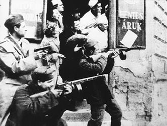 1956 Hungarian Revolution - Mutinying Hungarian soldiers in combat