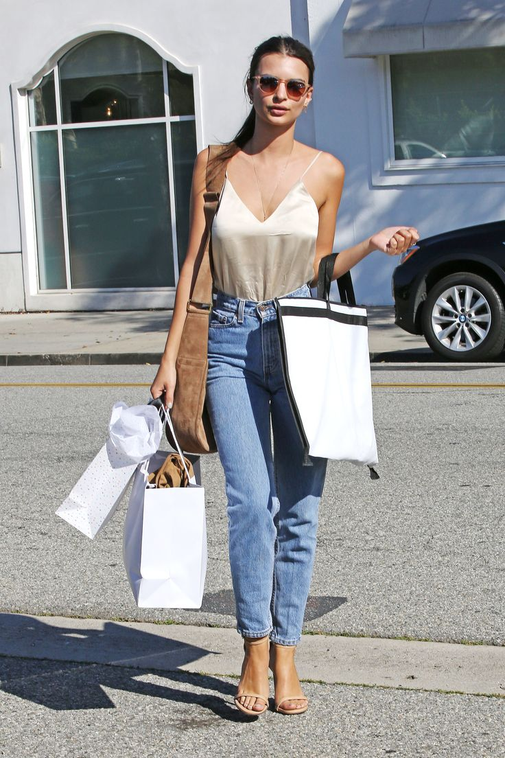 Consider this your guide to looking sexy in relaxed jeans—pair with a nude  silk