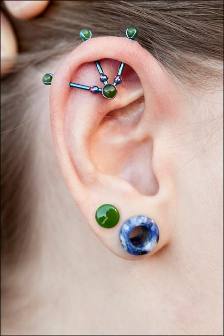 Industrial, ear piercings, ear tunnel, plug #piercings #bodyjewelry