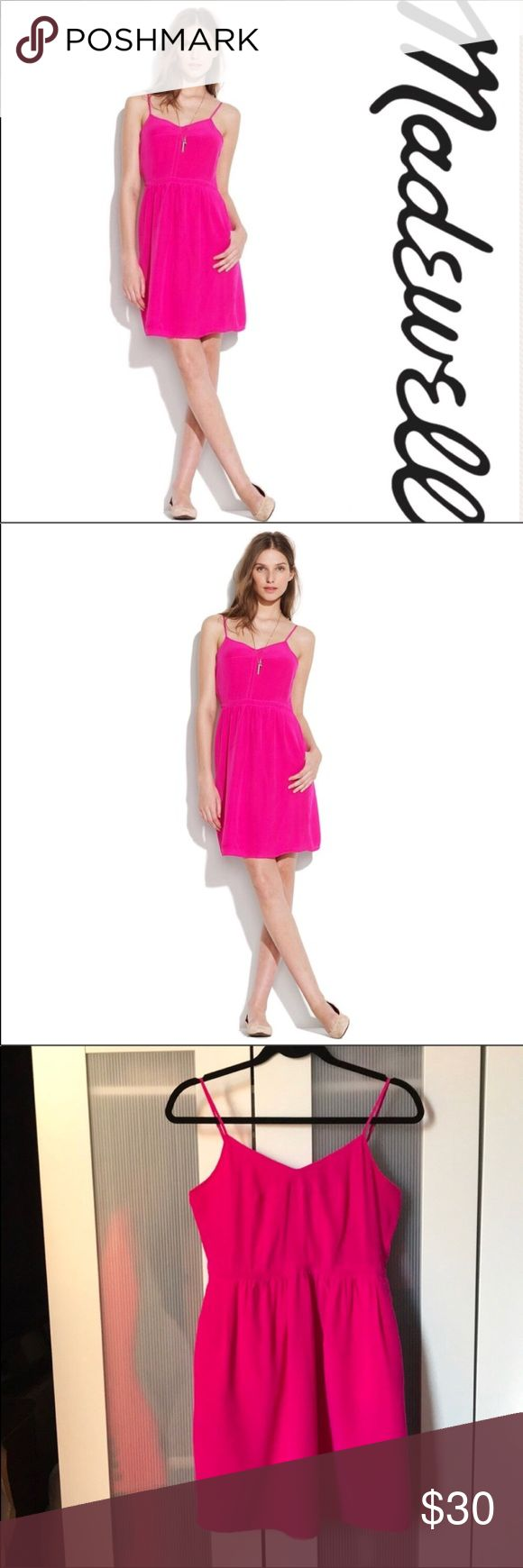 Madewell Broadway & Broome Silk Cami Dress - 4 An instant party favorite, this brushed-silk dress  in hot pink combines form, function and fun.   Fitted at waist.  Has pockets! Silk.  Dry clean.  Import.   Excellent preowned condition.  Offers welcomed!  P13 Madewell Dresses Mini