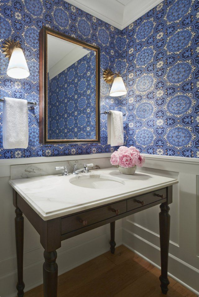 162 best powder rooms images on pinterest bathroom Pretty powder room ideas