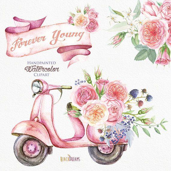 Acuarela ciclomotor Retro con flores ramo de rosas. por ReachDreams