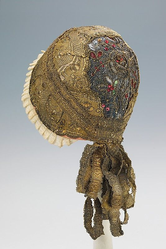 """Gold Cap"", early 19th century, German. Metal, paper, linen. Brooklyn Museum Costume Collection at The Metropolitan Museum of Art"