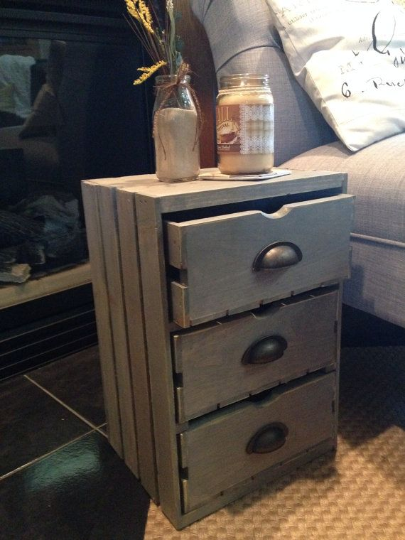 Wood Wine Crate Side Table End Table Farmhouse