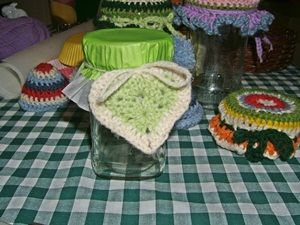 Use cupcake liners / muffin cases to decorate jam jars (and of course a crochet heart always is good add on)