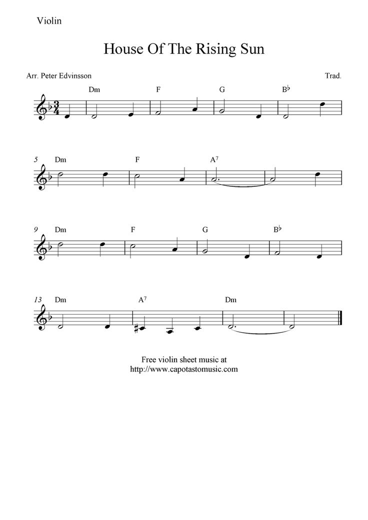free violin sheet music | Free Sheet Music Scores: House Of The Rising Sun, free…