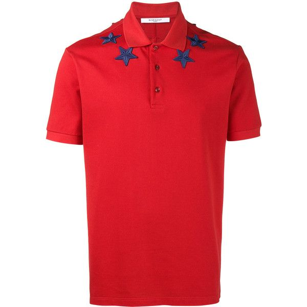 Givenchy star applique polo shirt ($550) ❤ liked on Polyvore featuring men's fashion, men's clothing, men's shirts, men's polos, red, mens red shirt, mens polo shirts, givenchy mens shirt, star wars mens shirts and mens red polo shirt