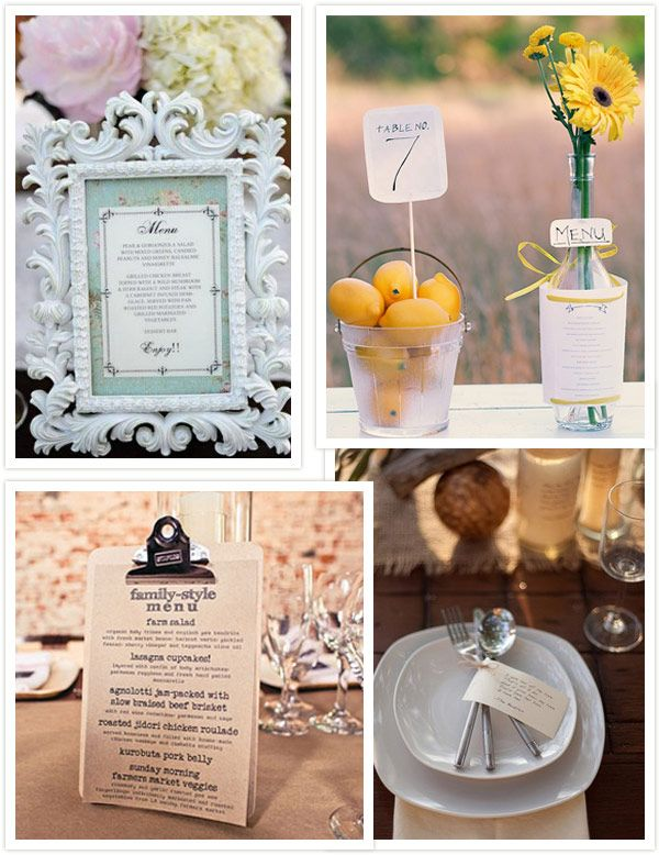 I like the ideas of: posting the menu in a frame and to tie the silverware together