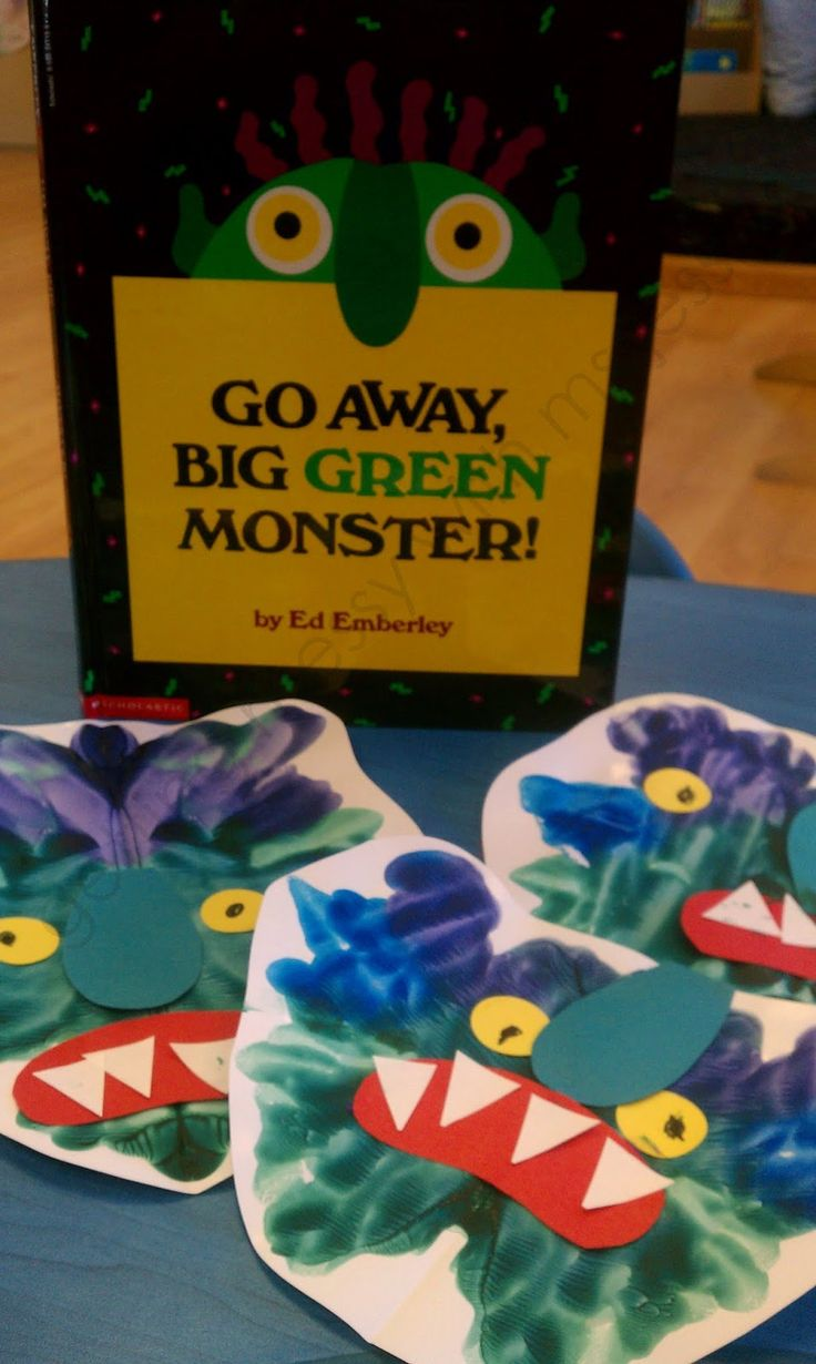 "Green Monsters: using purple, green and blue we ""squash painted"" and then added the other features with paper."