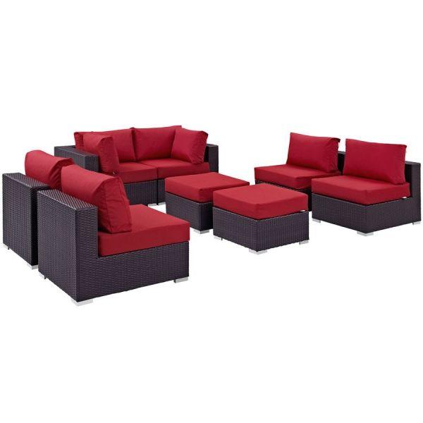 Convene Espresso Red Fabric Rattan 8pc Outdoor Sofa Set