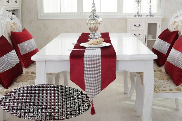 Table Runner With Diamante Strip And Tassels,12.6x71 inch length ,Red Color,means lucky in Chinese Tradition ,table runner overlay Modern Fancy Style ,best for home household  decoration