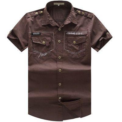 Men's Shirt 2016 New Men Cargo Shirt Fashion Casual Short Sleeve Mens Shirt for Man 100% Cotton Solid Tops Plus Size 55887