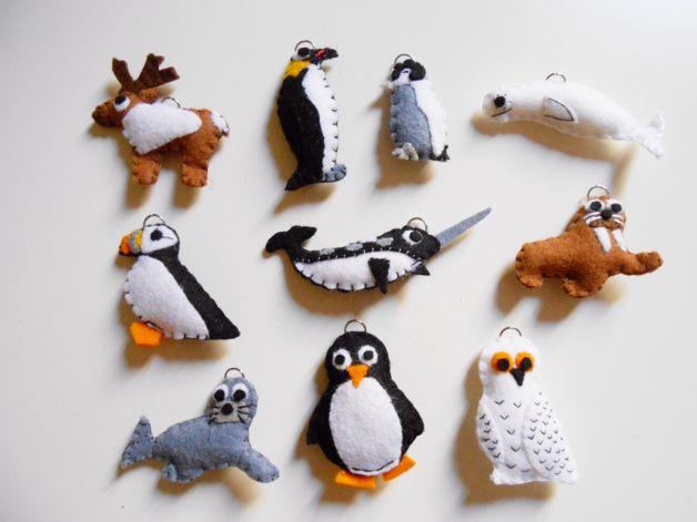 Llaveros - Elige uno: Llavero o adorno animales árticos - hecho a mano por Cai_crafts en DaWanda