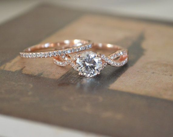 Twist Engagement Ring Setting - Rose Gold Twisted Band - Twisted Infinity Engagement Ring - Art Deco Promise Ring - 14k Gold Wedding Set