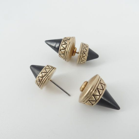 Aztec Tribal Antique Gold Onyx Black Spike Stud Double by Fabfound