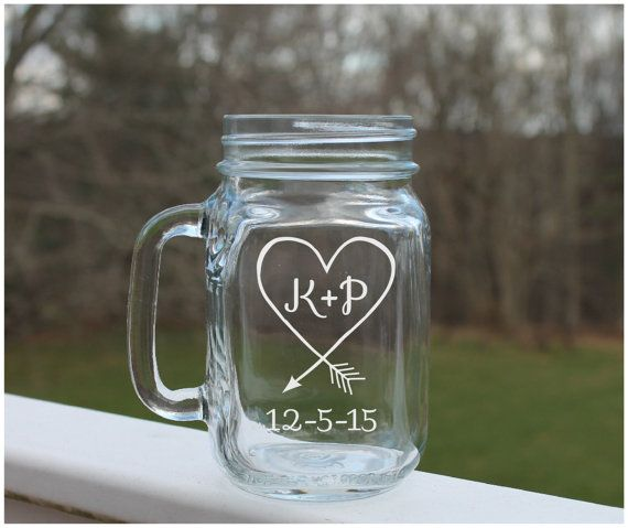 Etched Mason Jar mason jar wedding Heart Arrow by StoneEffectsMD