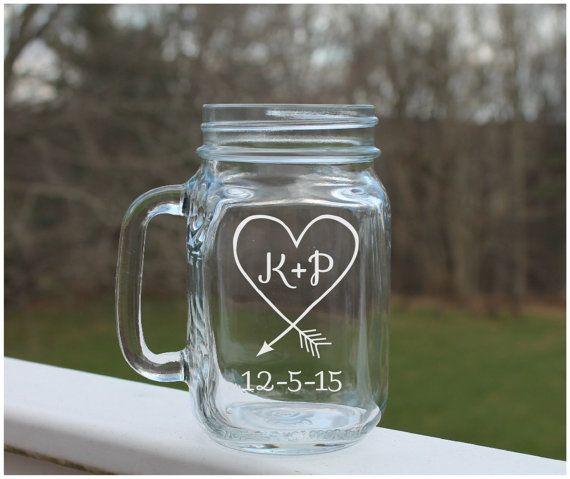 Etched Mason Jar mason jar wedding Heart Arrow mason jars