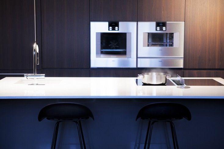Kitzen of Finland kitchen with German Bora Classic range and downdraft vent   Remodelista