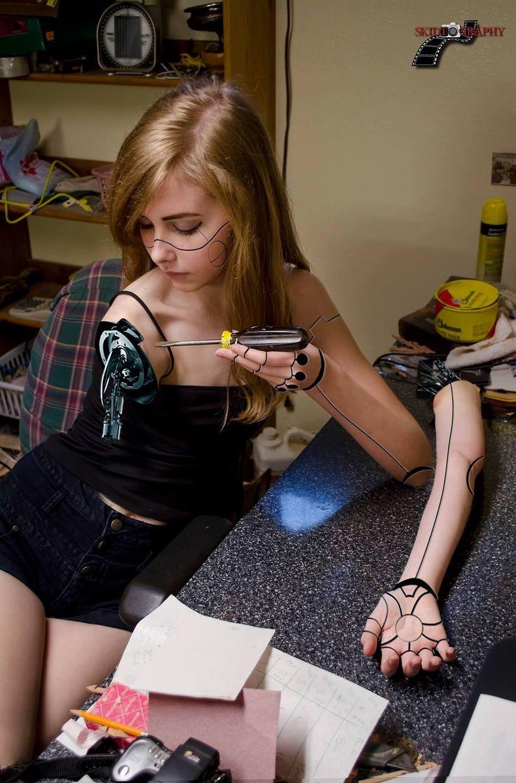Self-maintenance cyberpunk robot girl.