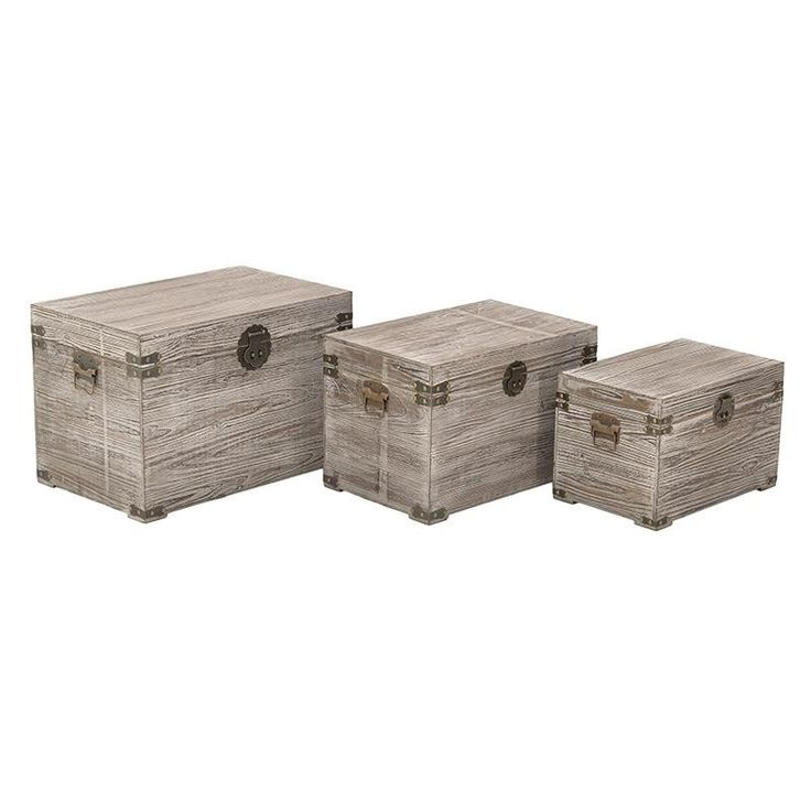 S/3 WOODEN TRUNK IN WHITE-BEIGE COLOR 60X39X41 - Chests - FURNITURE