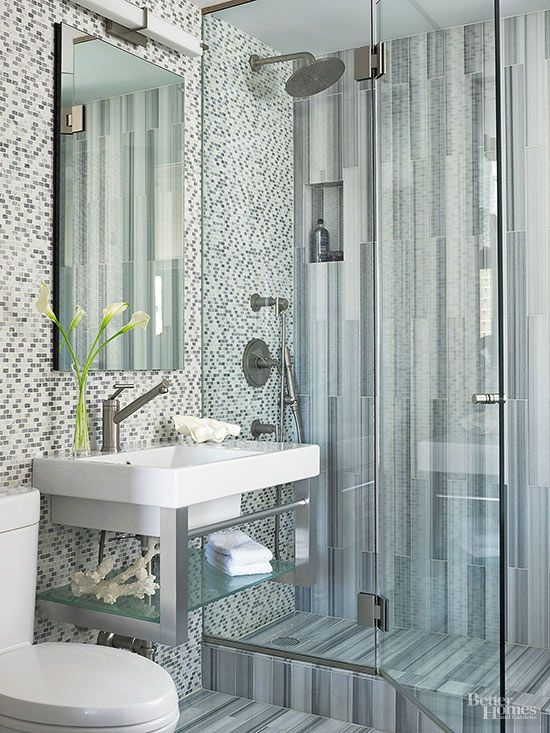 "Tile Mix ""The more, the merrier"" applies to tile in a bathroom. Using two or more types of tile creates visual contrast. Use tiles in different scales, materials or shapes, but include a unifying element, such as color, that will help the tiles harmonize."