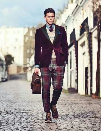 Team a dark purple velvet blazer with red plaid suit pants for a sharp classy look. Dark brown leather casual boots will add some edge to an otherwise classic look.