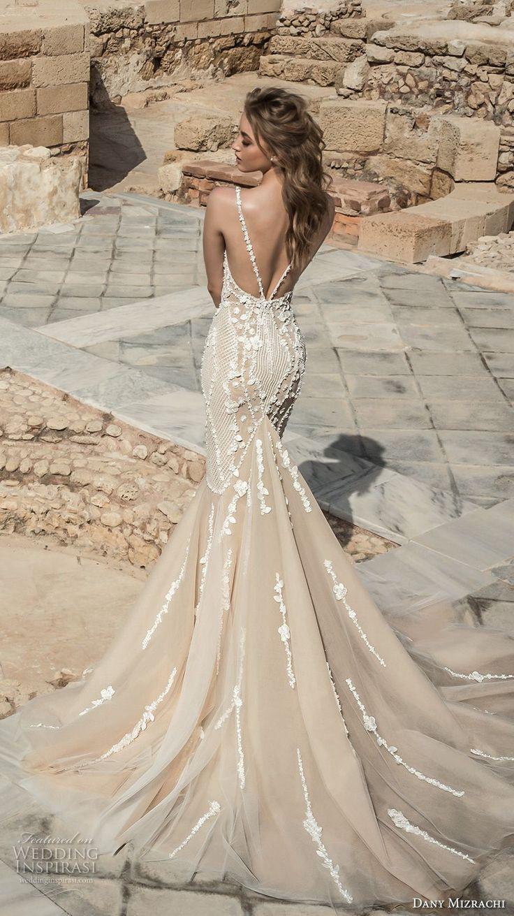 dany mizrachi 2018 bridal sleeveless halter neck deep plunging sweetheart neckline heavily embellished bodice elegant champagne color mermaid wedding dress open back chapel train (11) bv